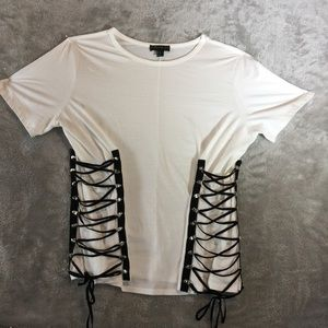 NWOT Side Lace Up Tee